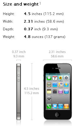 iphone 4 size