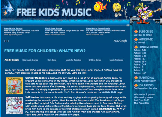 Free Music and Songs - freekidsmusic.com