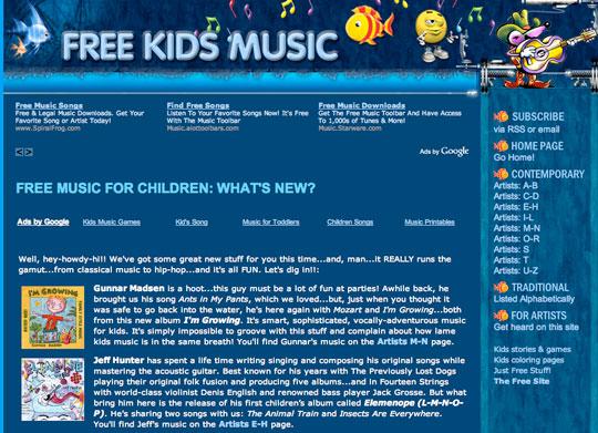 Free Music and Songs - freekidsmusic.com