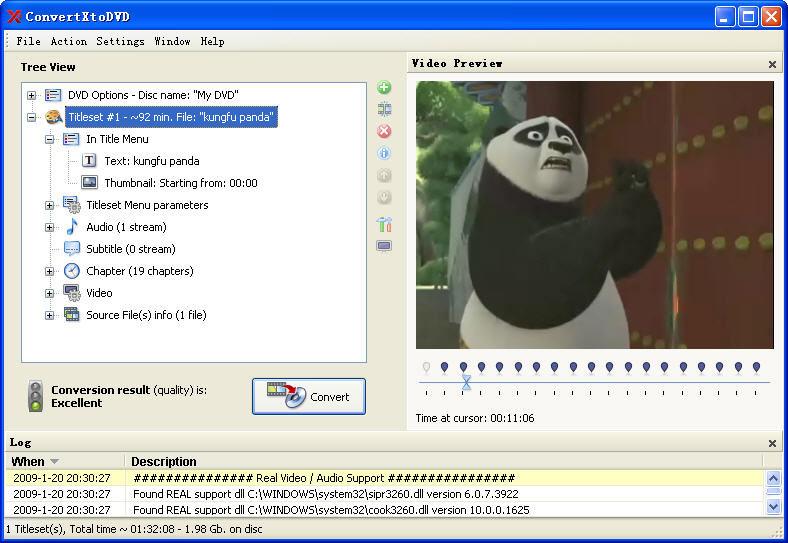 Burn movie to DVD with ConvertXtoDVD - make DVD menu