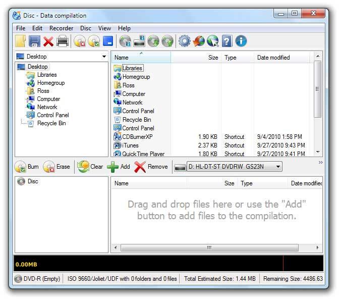 CDBurnerXP Data disc