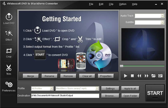 Load DVD into BlackBerry Converter