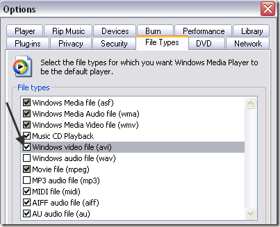 Windows Media Player file type