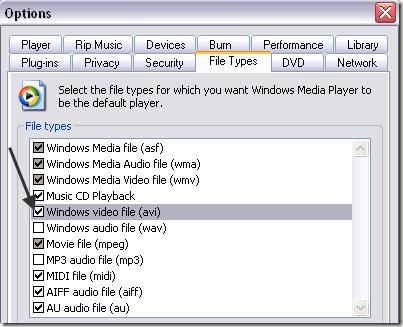Windows Media Player file type
