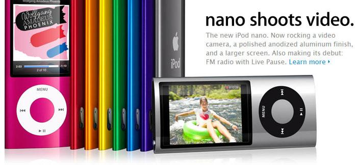 New iPod nano shoots video