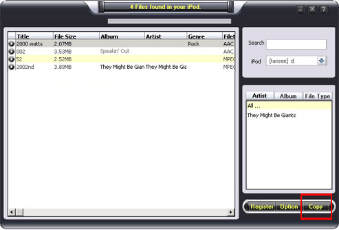 iPod music transfer