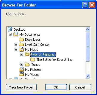 Located Windows Media Player music