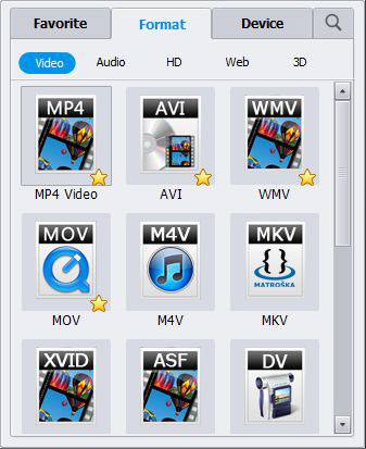 Select Output Video Formats