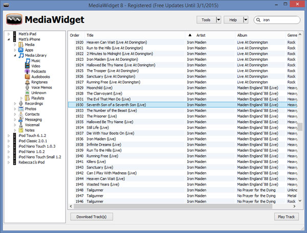 Mediawidget iPod Transfer Screenshot