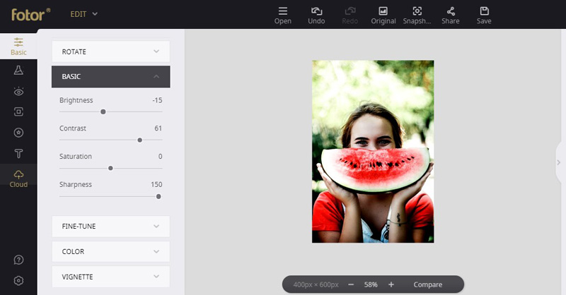 adjust photos effect with fotor